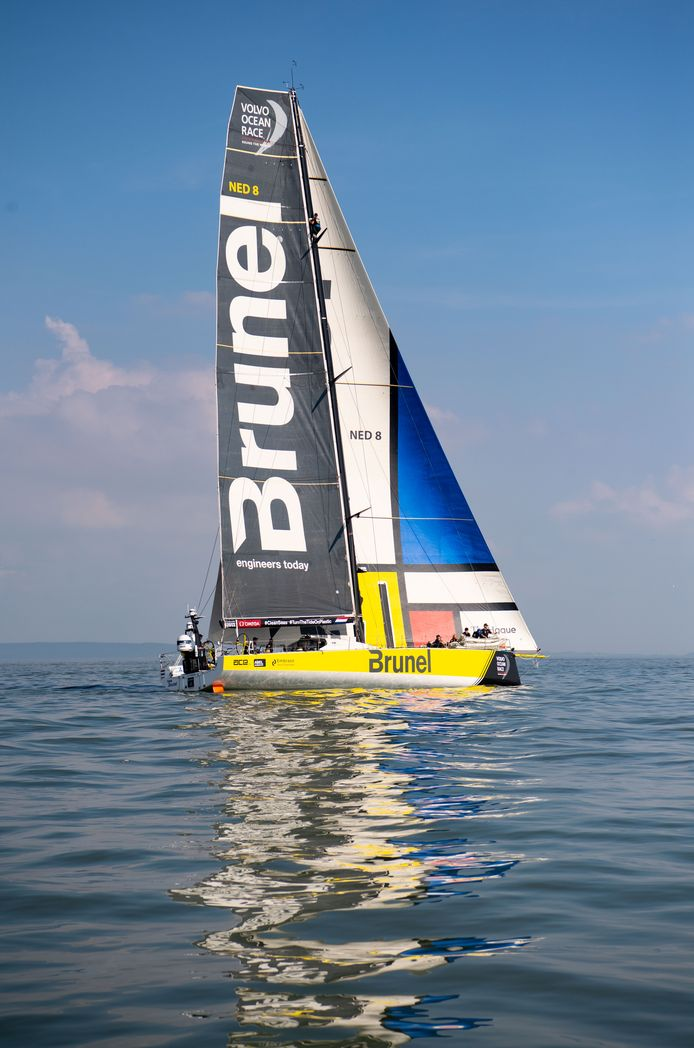 CARDIFF, UNITED KINGDOM - JUNE 10: Team Brunel seen leaving Cardiff during the Volvo Ocean Race 2018 on June 10, 2018 in Cardiff, United Kingdom. The Volvo Ocean Race is a yacht race around the world, held every three years. (Photo by Matthew Horwood/Getty Images)