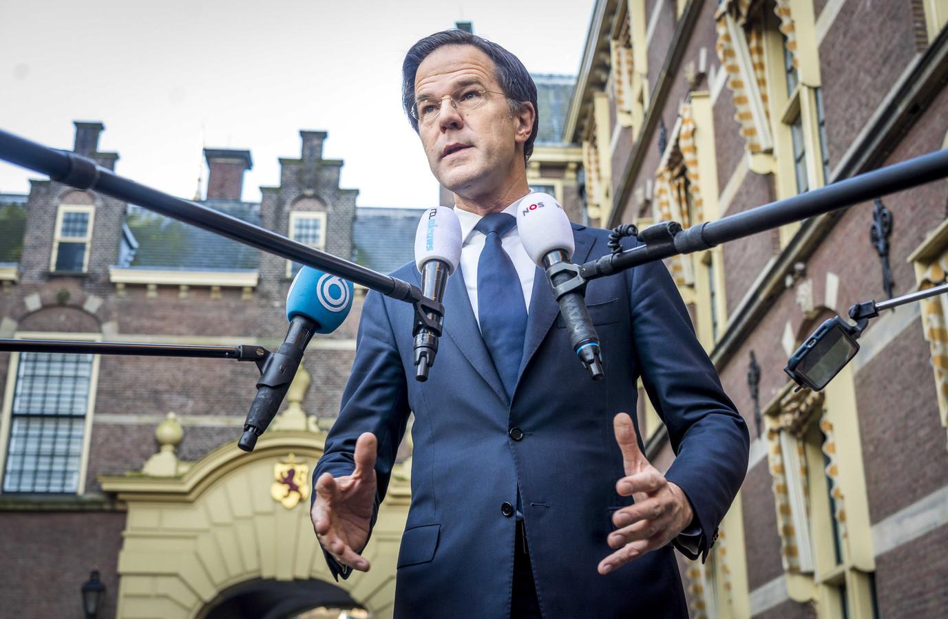Mark Rutte vandaag op het Binnenhof.