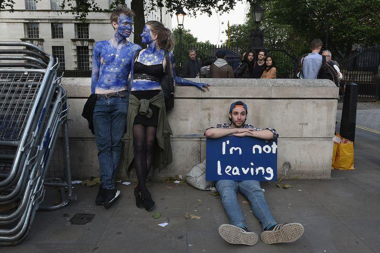 EU-gezinde Britten protesteren zaterdag in Londen. Beeld getty