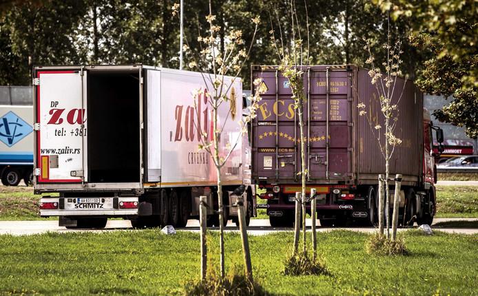 Vrachtwagens op het parkeerterrein van benzinestation Streepland langs de A16. Moerdijk worstelt met Albanese migranten die naar het Verenigd Koninkrijk willen. Zij proberen steeds vaker rond Moerdijk in een vrachtwagen te klimmen en zo als verstekeling de overtocht te maken.