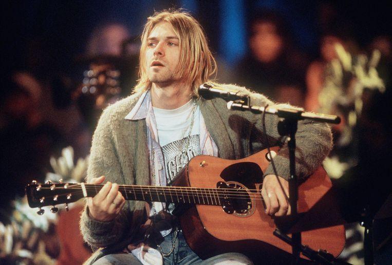 Kurt Cobain tijdens een MTV Unplugged-sessie Beeld rv