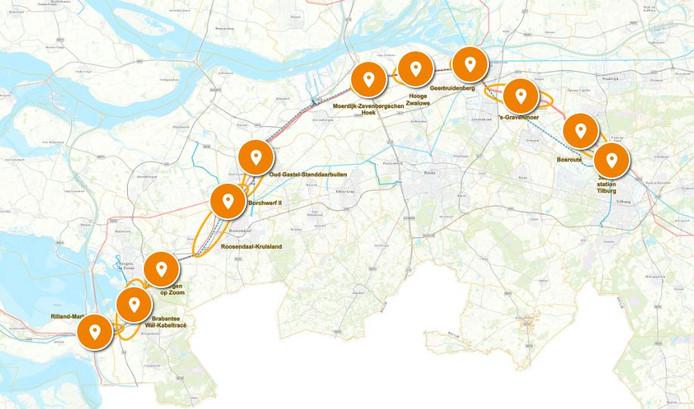 De knelpunten in het tracé van de 380 kV-lijn in West-Brabant.