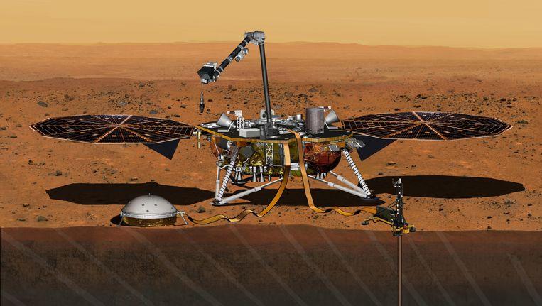Een tekening van de robot InSight die naar Mars zal reizen. Beeld AP