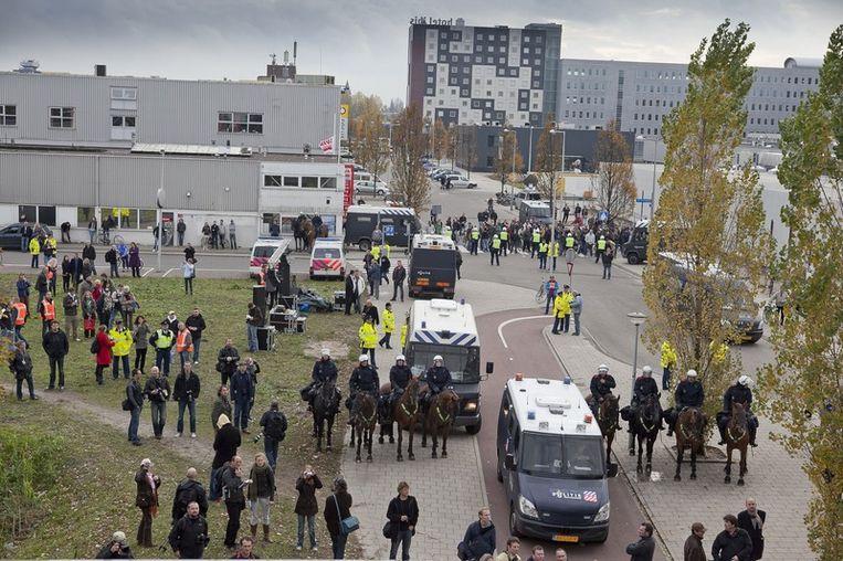 Het terrein waar de demonstratie voor Geert Wilders plaats zal vinden. Foto © Amaury Miller Beeld