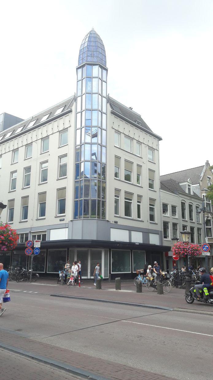 Het torentje op de hoek van de Lange Viestraat en de Oudegracht.