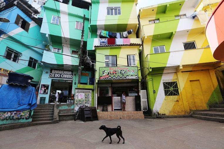 Huizen in een sloppenwijk in Rio de Janeiro. Fairf-oprichter Laurens van Dort kreeg zijn idee voor een duurzaam verfmerk toen hij in Brazilië betrokken was bij de oprichting van een duurzame kleurenmengfabriek voor kunstprojecten in dit soort wijken. Beeld Getty Images