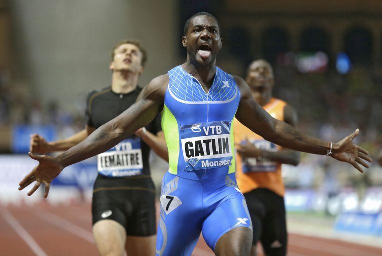 Justin Gatlin, de snelste sprinter ter wereld, komt vanavond in actie in het Olympisch Stadion Beeld AP