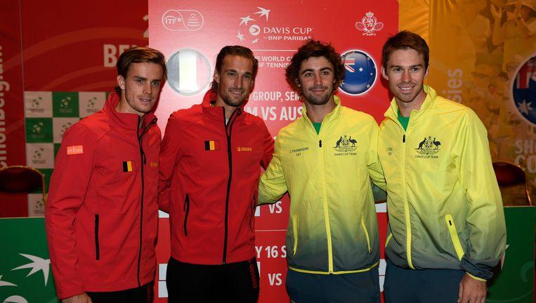 Arthur De Greef en Ruben Bemelmans (links) nemen het op tegen het Australische duo Jordan Thompson en Jordan Peers. Beeld photo_news