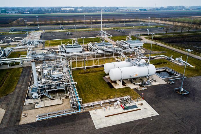 Foto gemaakt met een drone. Gaswinningslocatie van de NAM in Muntendam. Het kabinet heeft besloten om binnen 12 jaar een einde te maken aan de gaswinning in de provincie Groningen.