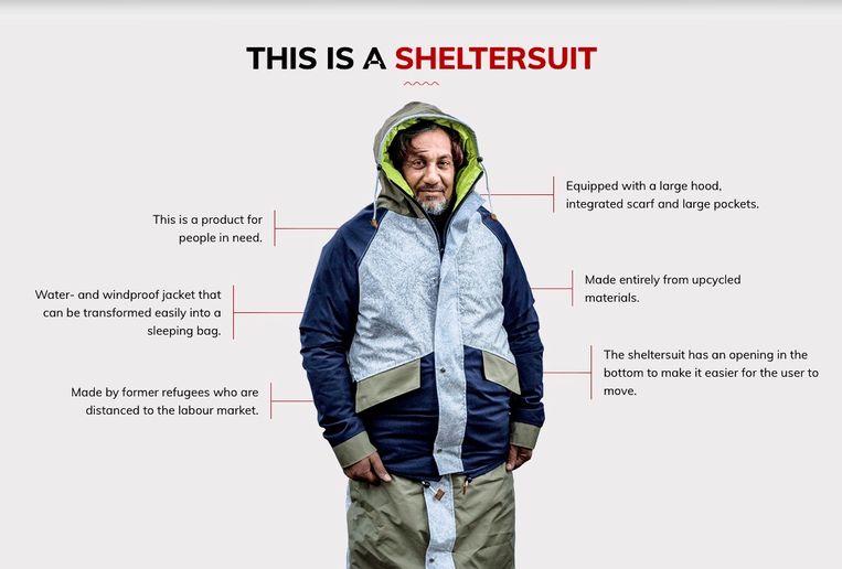 Beeld uit 'Voor de Vorm' waarin de sheltersuits worden uitgeprobeerd. Beeld