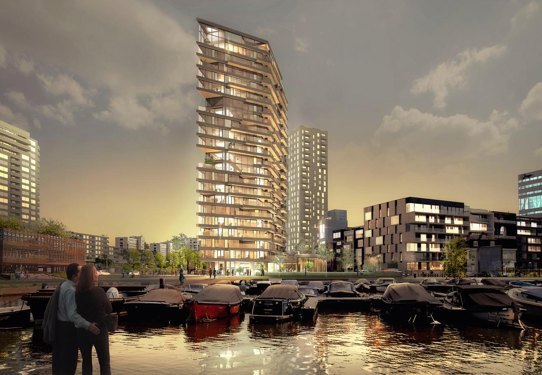Een artist's impression van Haut, de hoogste houten woontoren van Nederland. Beeld V Architects