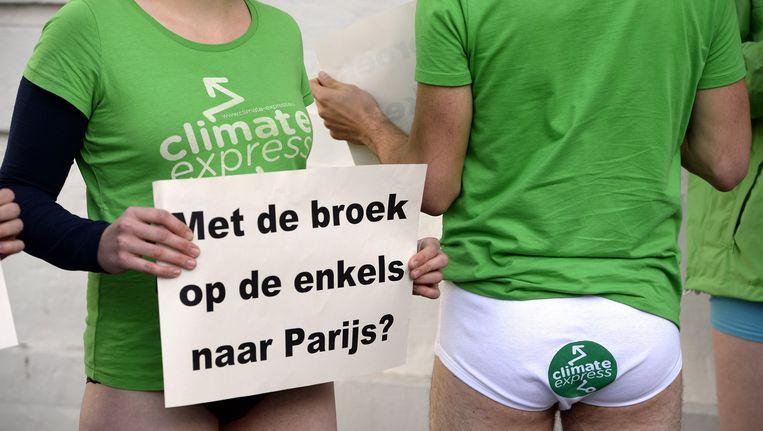 Een ludieke actie van Climate Express in 2015 Beeld BELGA
