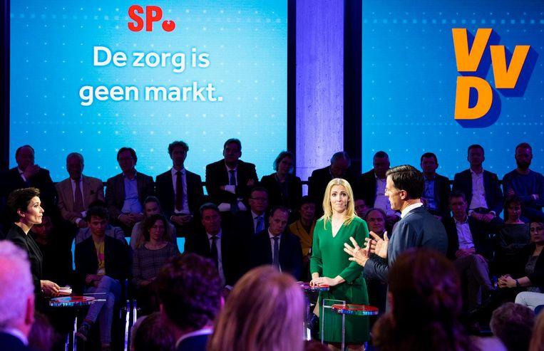 Lilian Marijnissen (SP) en Mark Rutte (VVD). Beeld anp