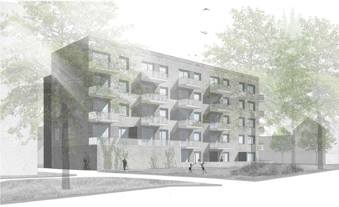 Woonbedrijf gaat 36 appartementen bouwen op de hoek Tinelstraat (voorgrond)-Cornelis Dopperstraat in Eindhoven.