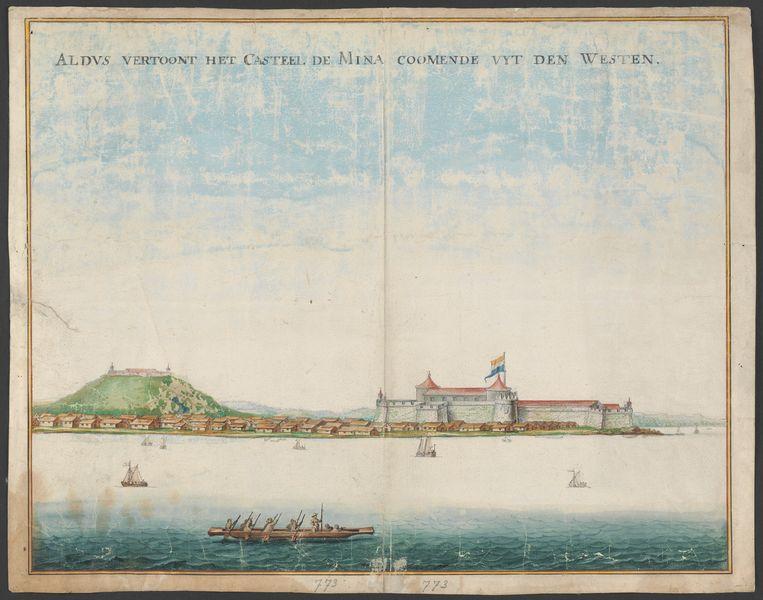 Het fort Elmina, aan de Ghanese Goudkust. Een beeld uit de slavernijarchieven die openbaar toegankelijk zijn geworden. Beeld Nationaal Archief
