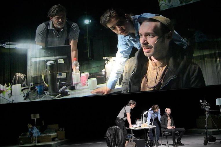 The Nation op het podium van Schauspiel Frankfurt. Beeld null