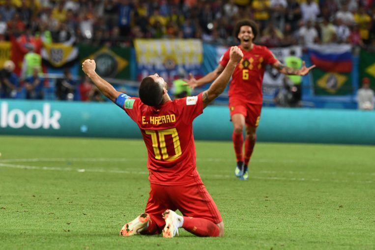 Eden Hazard juicht op het WK 2018. Beeld AFP