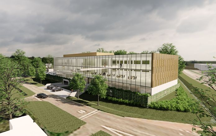 Een artist's impression van het bloedlaboratorium annex kantoor aan de Schansdijk in Zevenbergen.