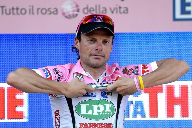 Di Luca (LPR Brakes) won eerder in deze ronde de vierde etappe. Zijn venijnige demarrage op 3 kilometer van de streep was dinsdag te veel voor zijn medevluchters. Foto EPA Beeld