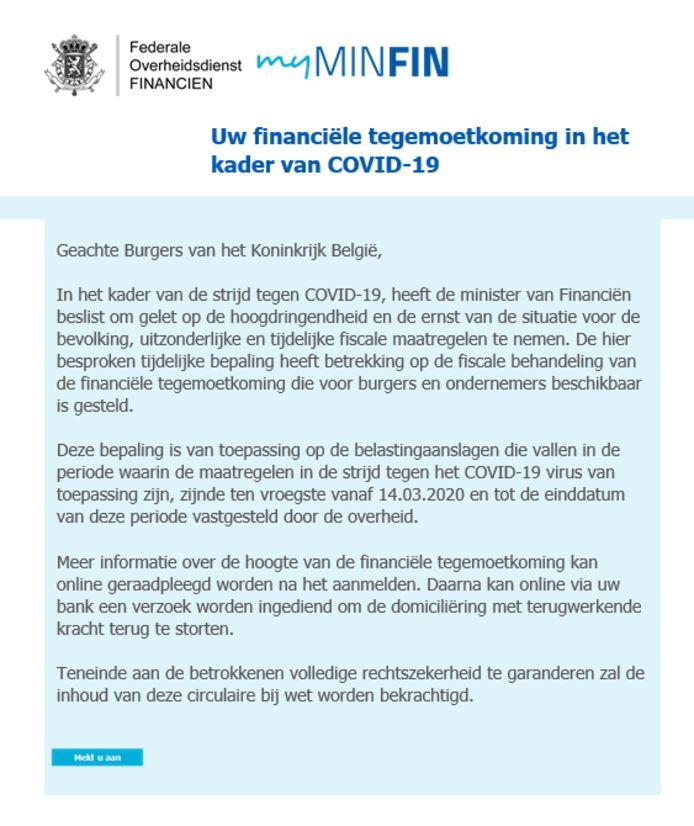 Voorbeeld van een valse e-mail, zogezegd afkomstig van de FOD Financiën. Hierbij belooft men u in het kader van de coronacrisis een fiscale tegemoetkoming.