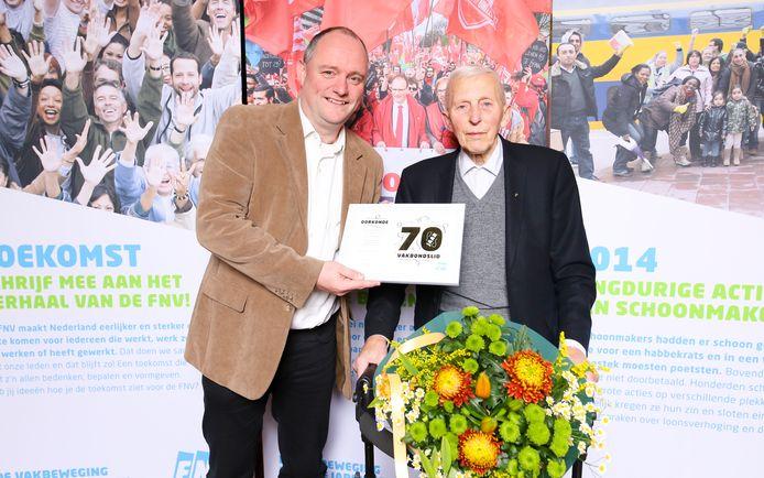 Jan Ketels is 70 jaar lid van de vakbond. Foto Ron Eskens Soowpictures