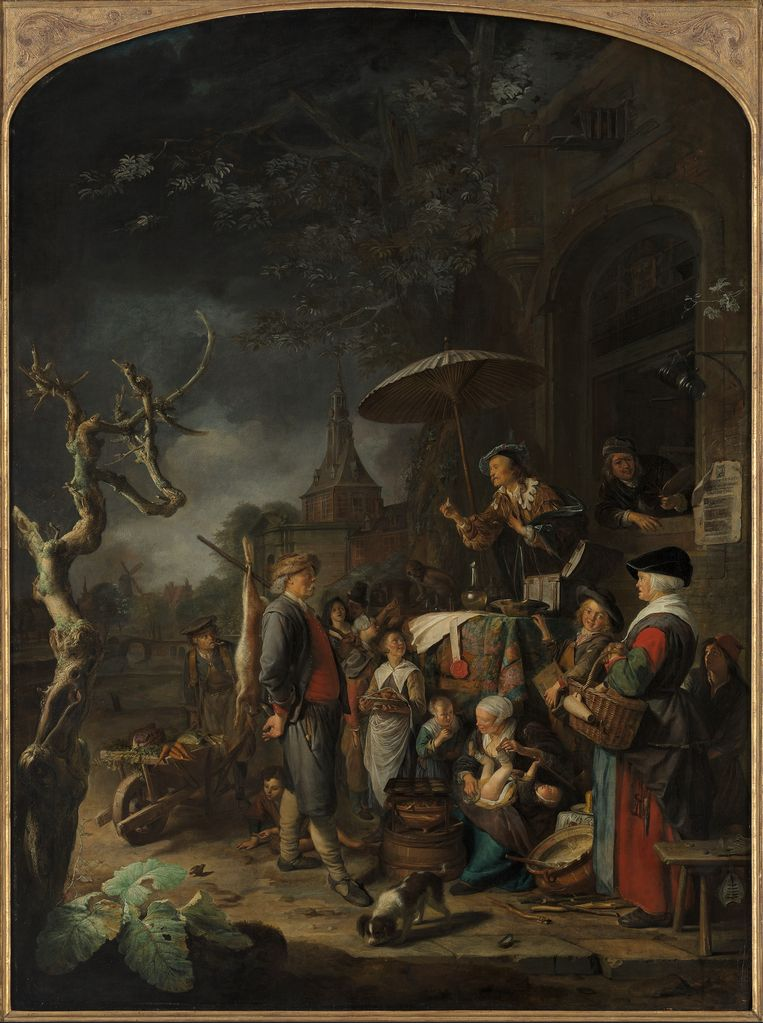 Gerrit Dou, De kwakzalver, 1652, olieverf op paneel, 83,4 x 112,4 cm. Beeld Museum Boijmans Van Beuningen Rotterdam