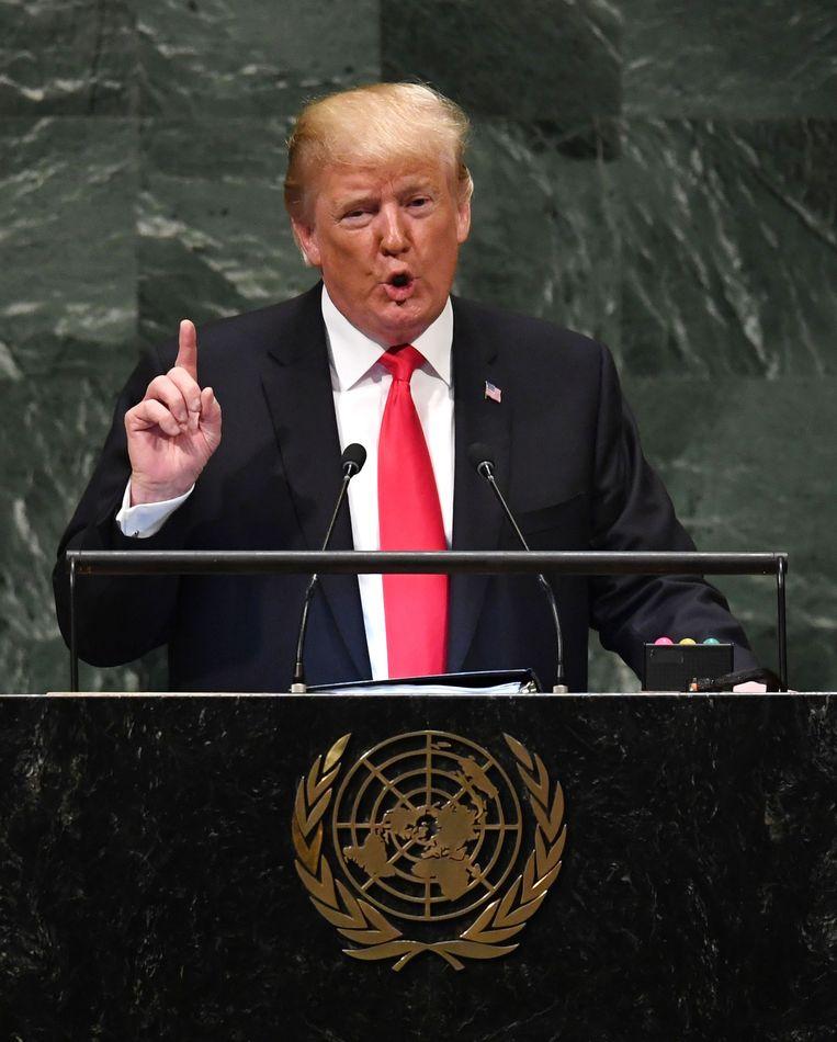 De Amerikaanse president Donald Trump tijdens zijn toespraak voor de Algemene Vergadering van de VN. Beeld AFP