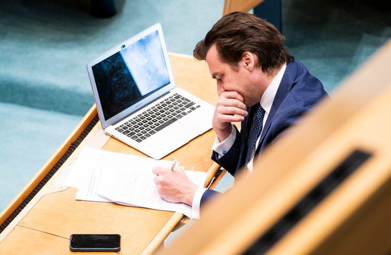 Thierry Baudet (FvD) tijdens het debat over de coronacrisis.  Beeld Freek van den Bergh / de Volkskrant