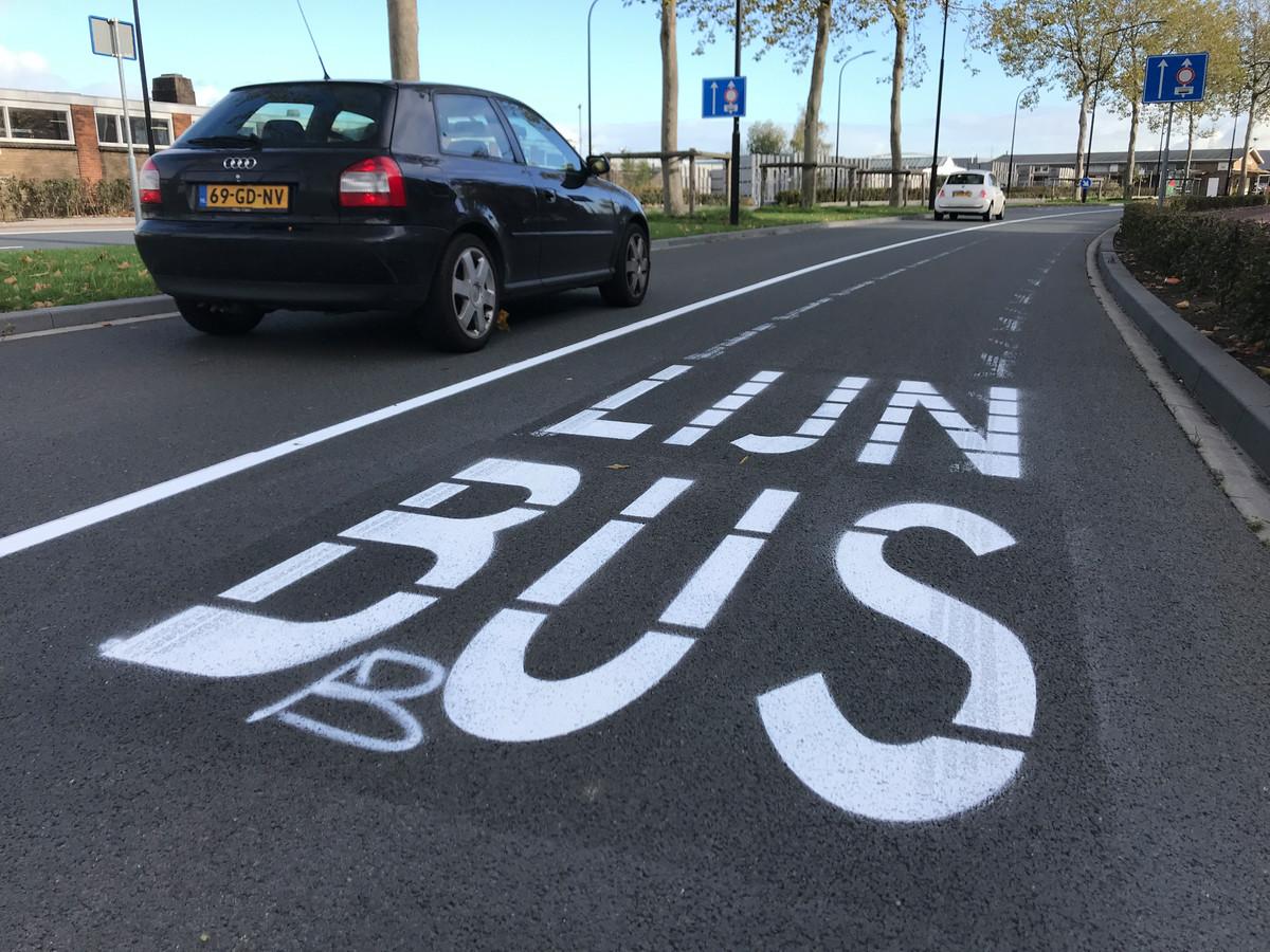 De tweede rijbaan is nu een busbaan.