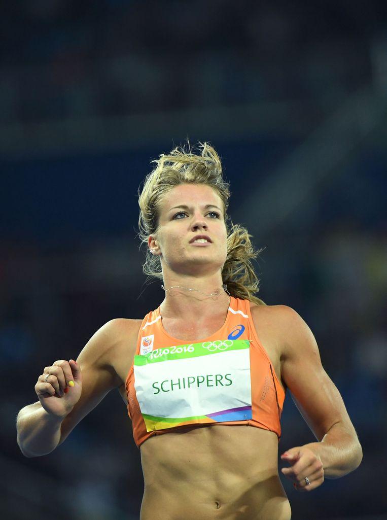 Dafne Schippers na de series van de 100 meter in Rio in 2016. Beeld AFP
