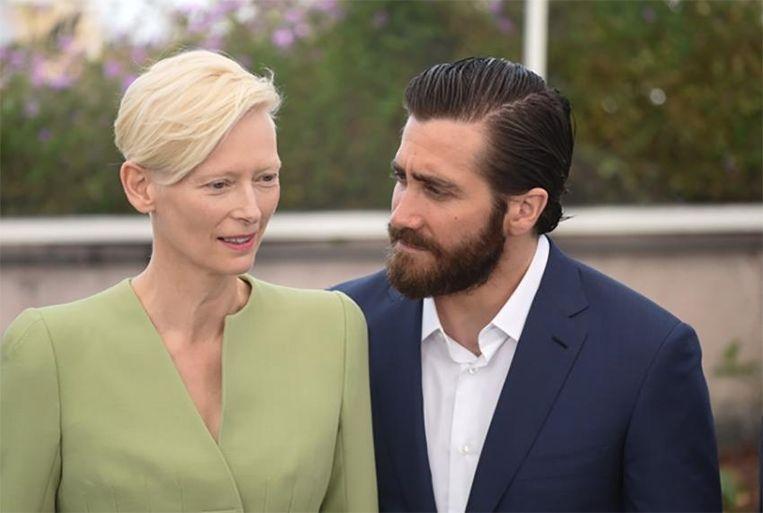 'Okja'-acteurs Tilda Swinton en Jake Gyllenhaal in Cannes