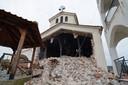 Een vernielde kerk in de buurt van de Griekse stad Larissa.