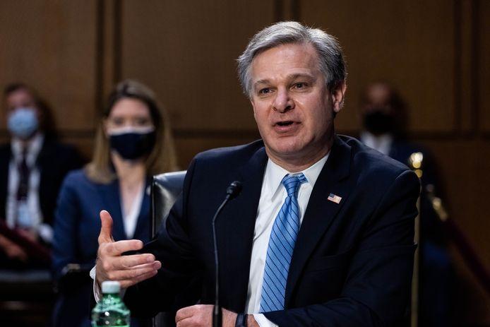 FBI-directeur Christopher Wray tijdens de hoorzitting in de Amerikaanse senaat