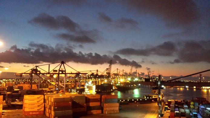 Containerterminals in de Rotterdamse haven.