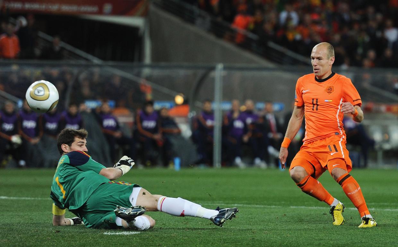 Arjen Robben tijdens het WK in Zuid-Afrika in 2010. Beeld Getty Images