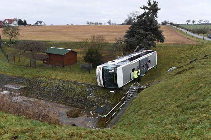De gecrashte schoolbus in Eisenach