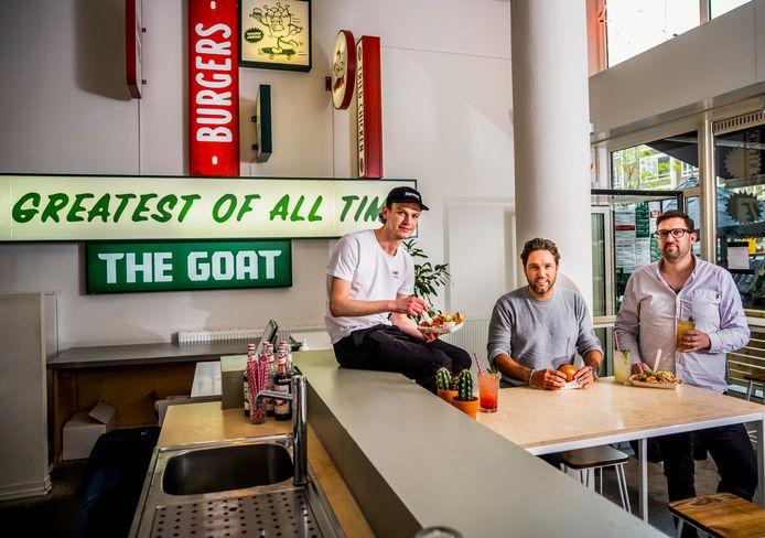 Bedrijfsleider Blair Cooper (l) van The Goat en eigenaren Rob van den Broek en Rolf Leliveld.