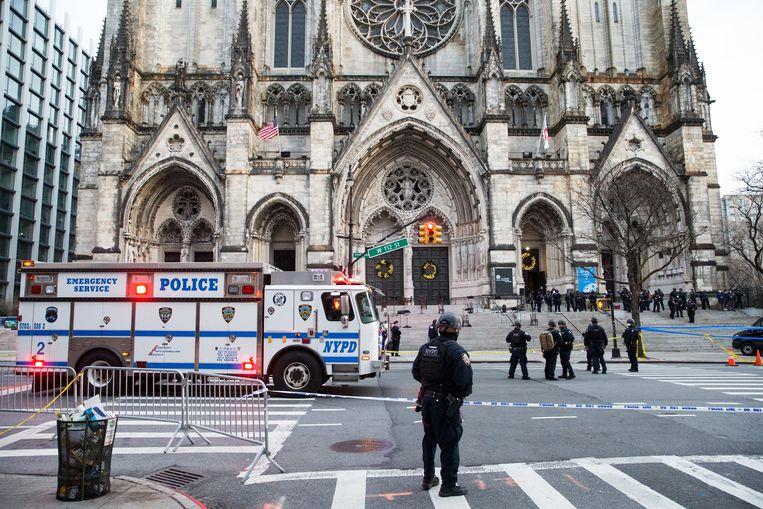 De kathedraal Saint John the Divine, in de wijk Harlem, waar de schietpartij plaatsvond. Beeld Photo News