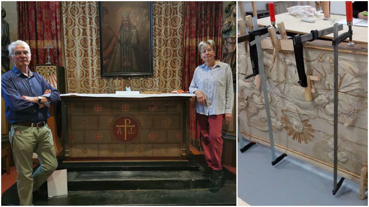 René Van den Braembussche (78) en Leen De Waele (77) gingen samen aan de slag om het werk van de ondergang te redden. Rechts het paneel tijdens de restauratie.