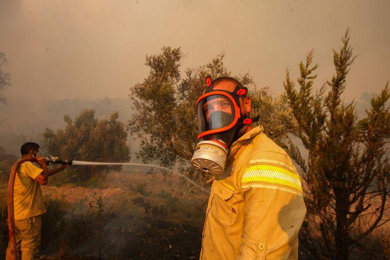 Brandweermannen gaan het vuur te lijf in Manavgat. Beeld AFP