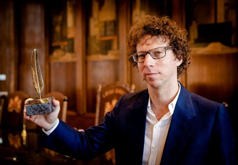 Auteur Arnon Grunberg, hier met de Gouden Ganzeveer in 2017. Beeld ANP