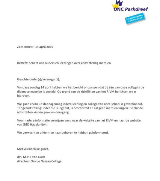 Brief van ONC aan ouders en medewerkers nav mazelendiagnose