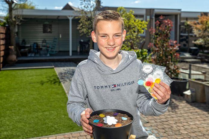 Om geld op te halen voor Stichting ALS verkoopt Sam Vreugdenhil Groeiconfetti.