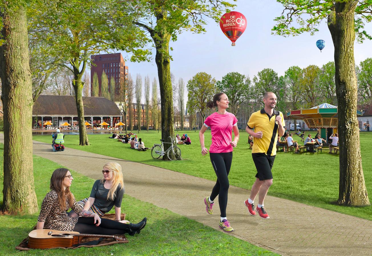 Een artist impression van hoe het stadspark op terrein van de Seelig-kazerne er uit zou kunnen gaan zien.