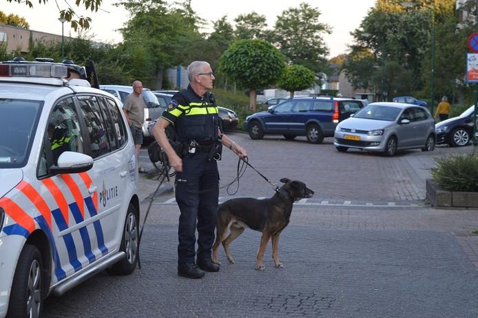 De politie zette honden in om de vechtpartij te sussen.