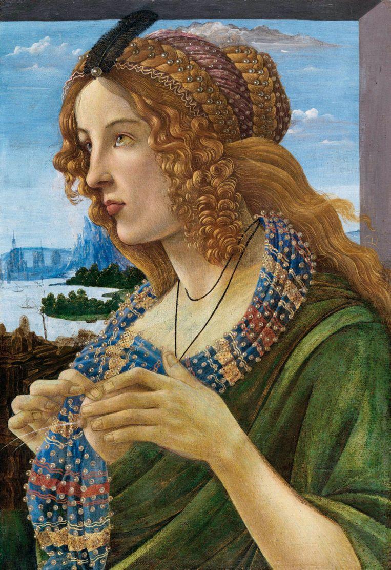 Sandro Botticelli (werkplaats) Allegorisch portret van een vrouw 1475-85; tempera op doek; 57,6 x 40 cm Privécollectie Beeld Getty
