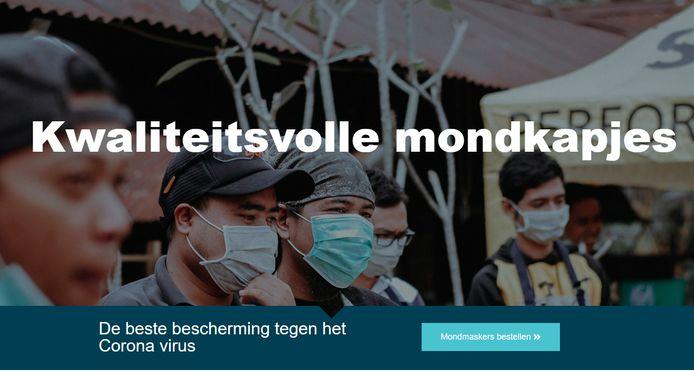 Op de homepage van de webshop worden mondmaskers gepromoot als de beste bescherming tegen het coronavirus, iets wat enkel klopt wanneer je met reeds zieke mensen omgaat.