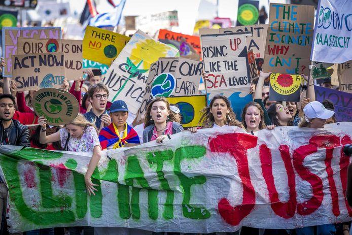 Klimaatdemonstranten in Maastricht.