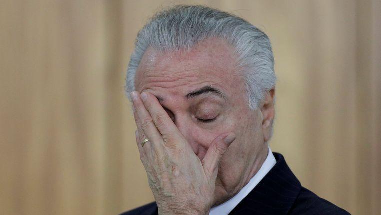 De Braziliaanse president Michel Temer kan worden afgezet. Beeld REUTERS