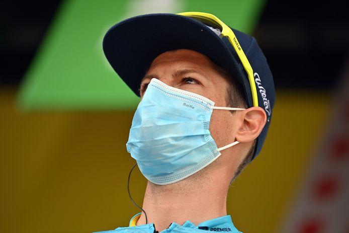 Jakob Fuglsang voor de tweede etappe van de Tour de France.